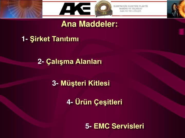 Ana Maddeler: