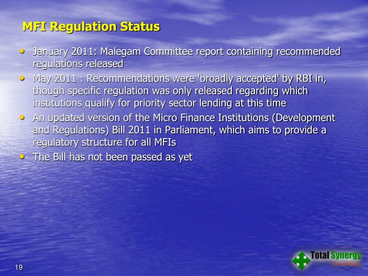 MFI Regulation Status