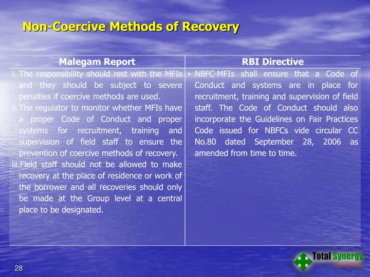 Non-Coercive Methods of Recovery