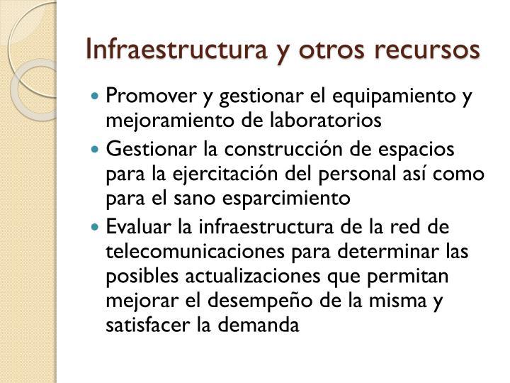 Infraestructura y otros recursos