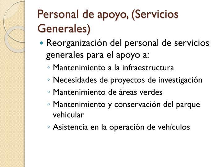 Personal de apoyo, (Servicios Generales)