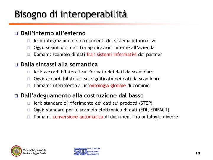 Bisogno di interoperabilità