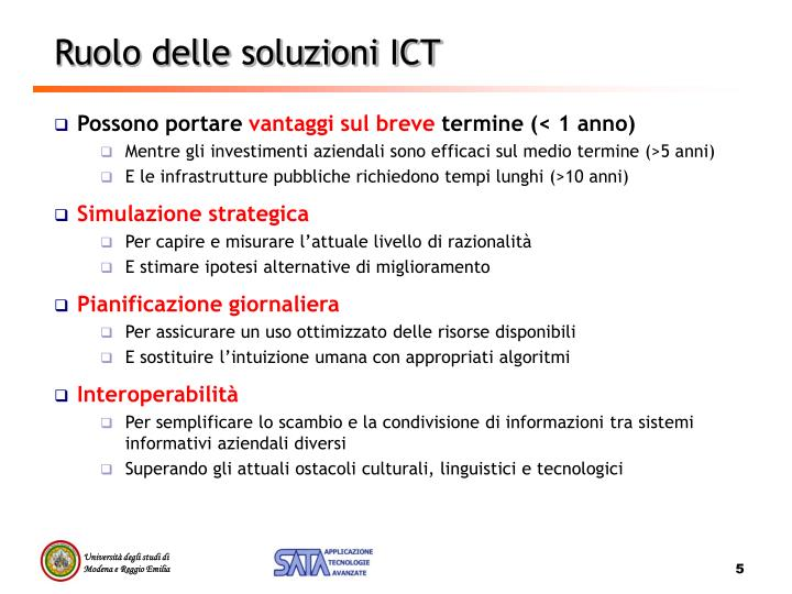 Ruolo delle soluzioni ICT