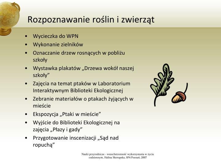 Rozpoznawanie roślin i zwierząt