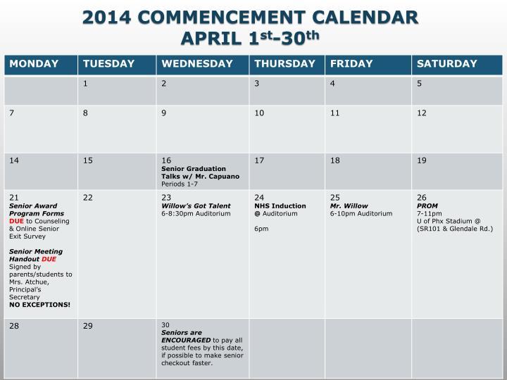 2014 COMMENCEMENT CALENDAR