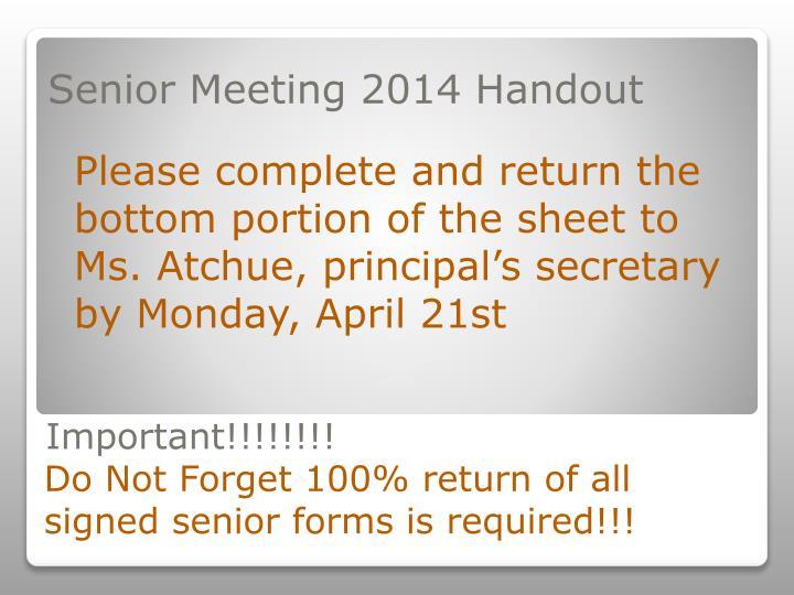 Senior Meeting 2014 Handout