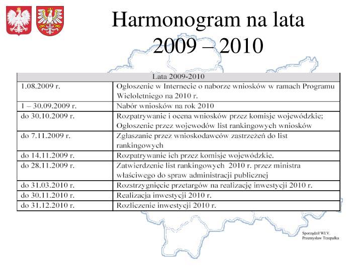 Harmonogram na lata             2009 – 2010
