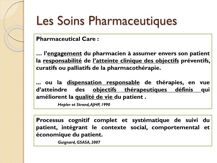 Les Soins Pharmaceutiques