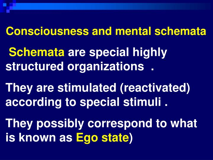 Consciousness and mental schemata