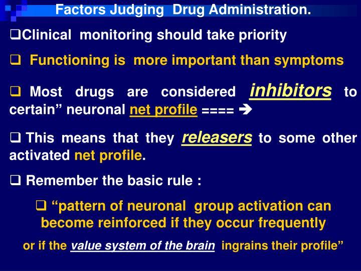 Factors Judging  Drug Administration.