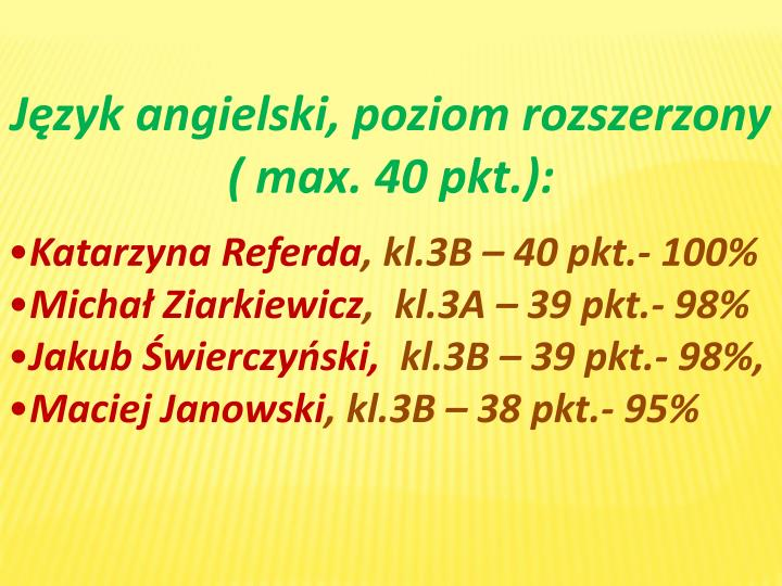 Język angielski, poziom rozszerzony (