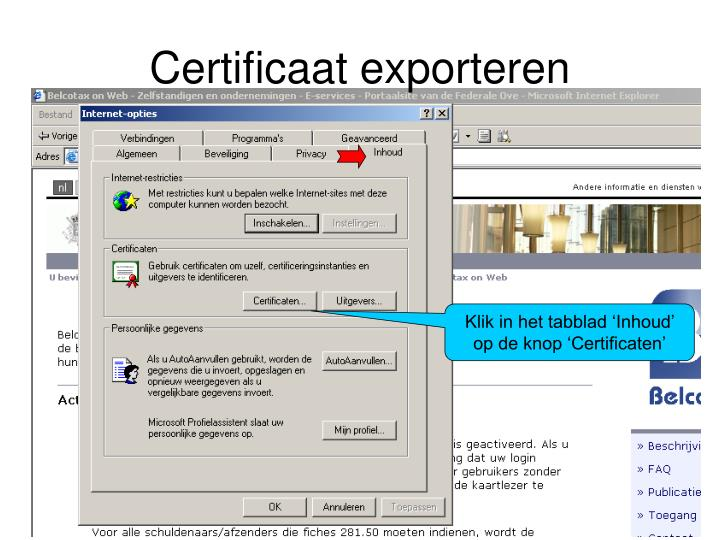Certificaat exporteren