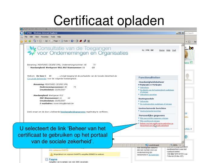 Certificaat opladen