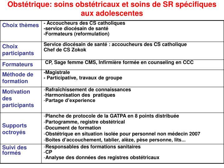 Obstétrique: soins obstétricaux et soins de SR spécifiques aux adolescentes