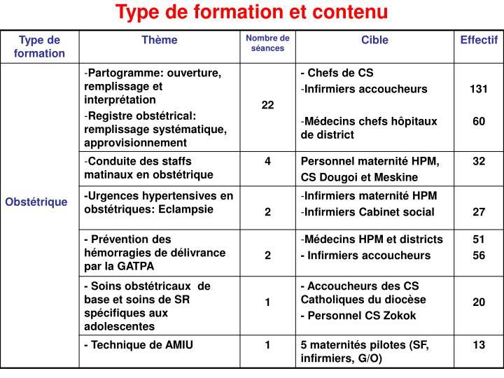Type de formation et contenu