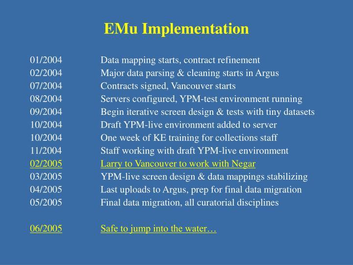 EMu Implementation