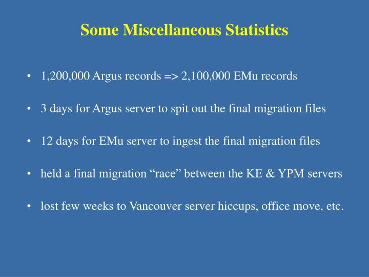 Some Miscellaneous Statistics
