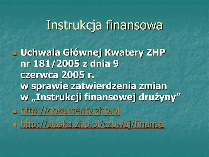 Instrukcja finansowa