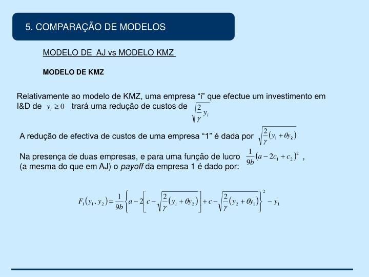 5. COMPARAÇÃO DE MODELOS