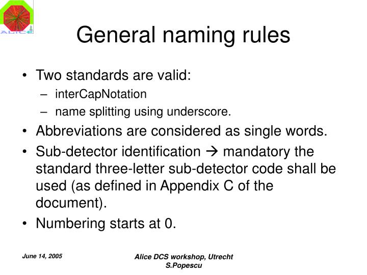 General naming rules