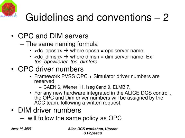 Guidelines and conventions – 2