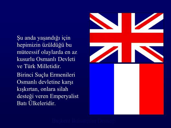 Şu anda yaşandığı için hepimizin üzüldüğü bu müteessif olaylarda en az kusurlu Osmanlı Devleti ve Türk Milletidir.