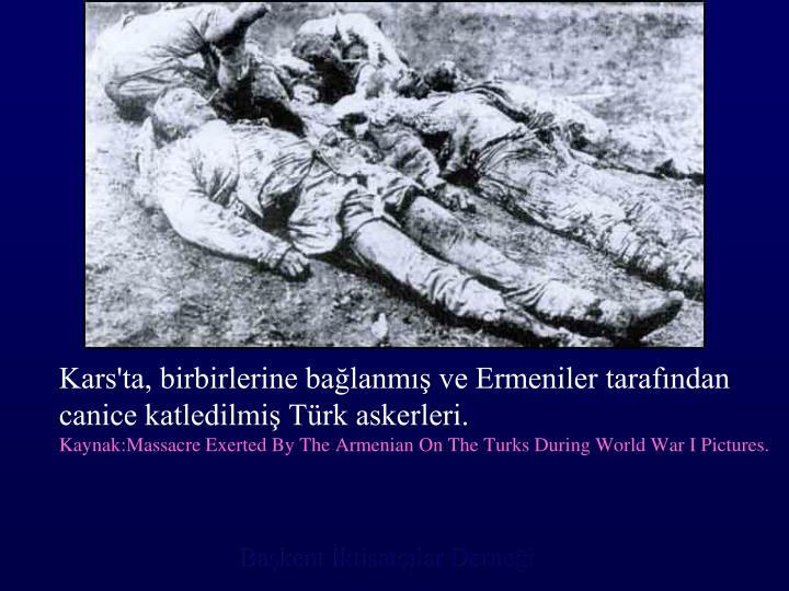 Kars'ta, birbirlerine bağlanmış ve Ermeniler tarafından canice katledilmiş Türk askerleri.
