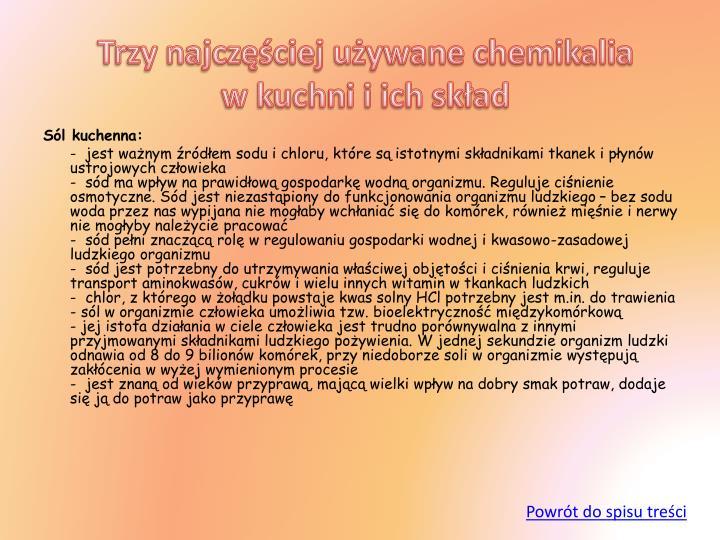 Trzy najczęściej używane chemikalia