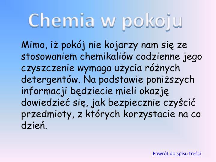Chemia w pokoju