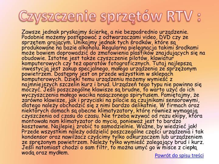 Czyszczenie sprzętów RTV :