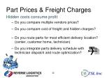 part prices freight charges