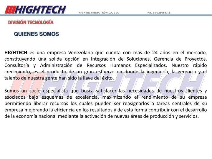 HIGHTECH ELECTRÓNICA, C.A.                                     Rif. J-00266557-2