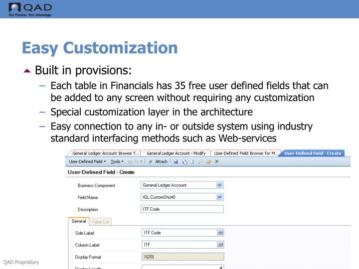 Easy Customization