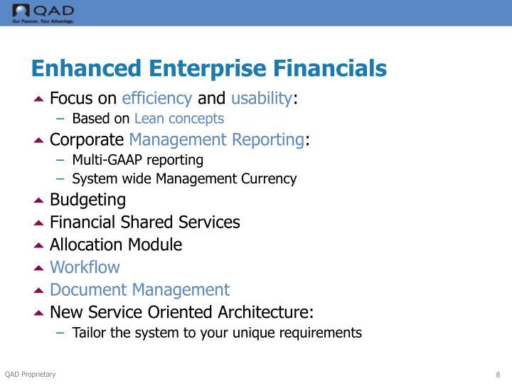 Enhanced Enterprise Financials