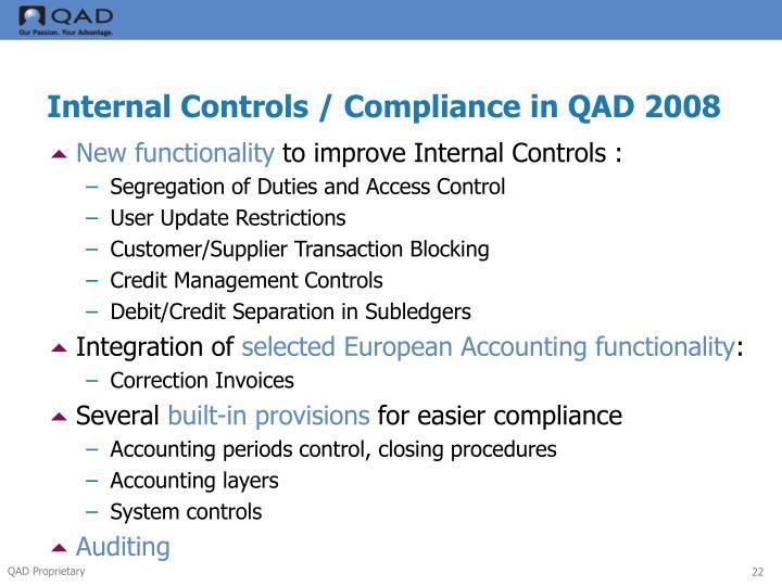 Internal Controls / Compliance in QAD 2008