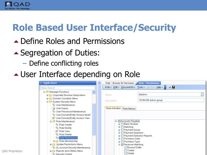 Role Based User Interface/Security