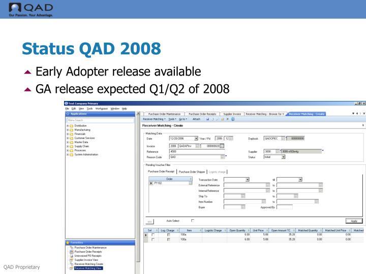 Status QAD 2008