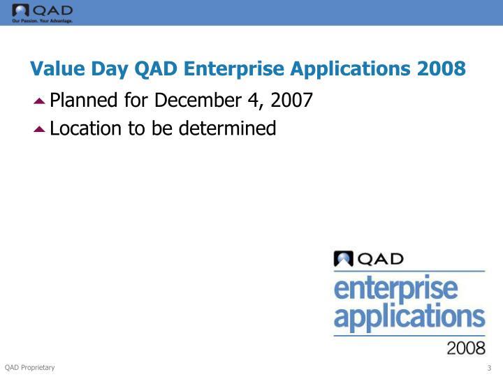 Value Day QAD Enterprise Applications 2008