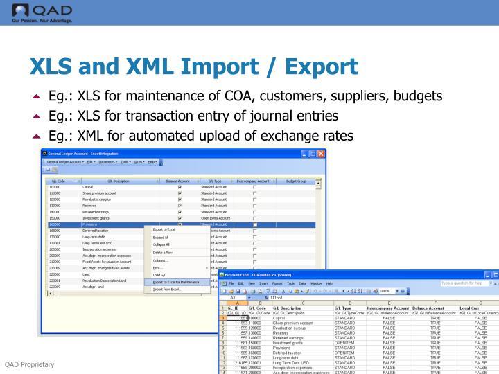 XLS and XML Import / Export