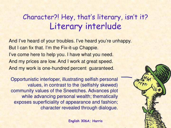 Character?! Hey, that's literary, isn't it?