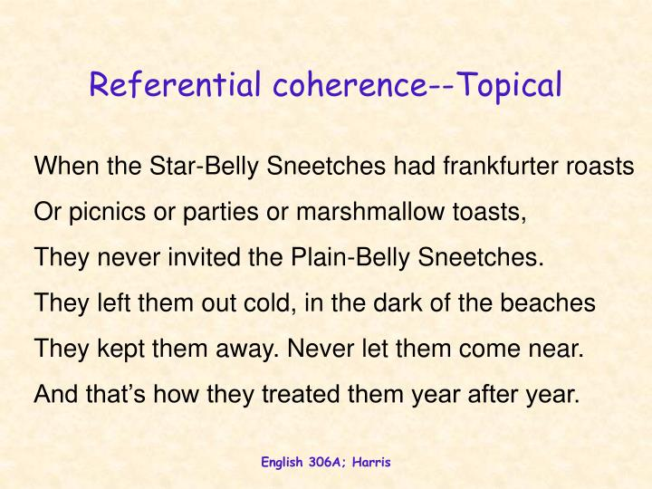 Referential coherence--Topical