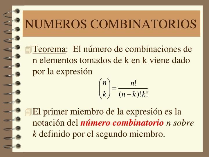 NUMEROS COMBINATORIOS