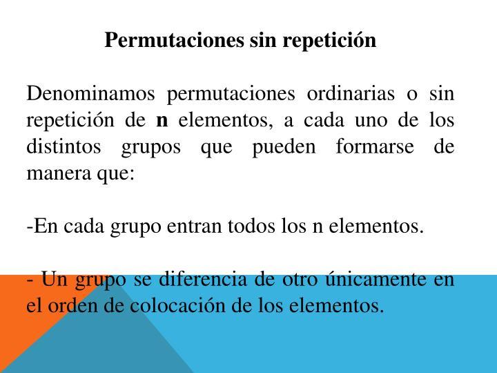 Permutaciones sin repetición