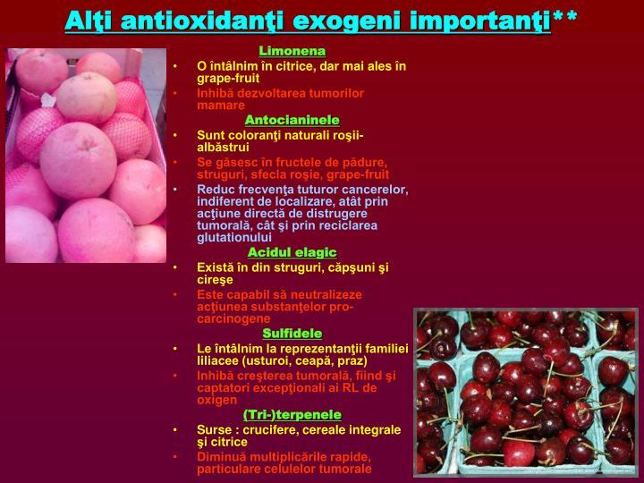 Alţi antioxidanţi exogeni importanţi