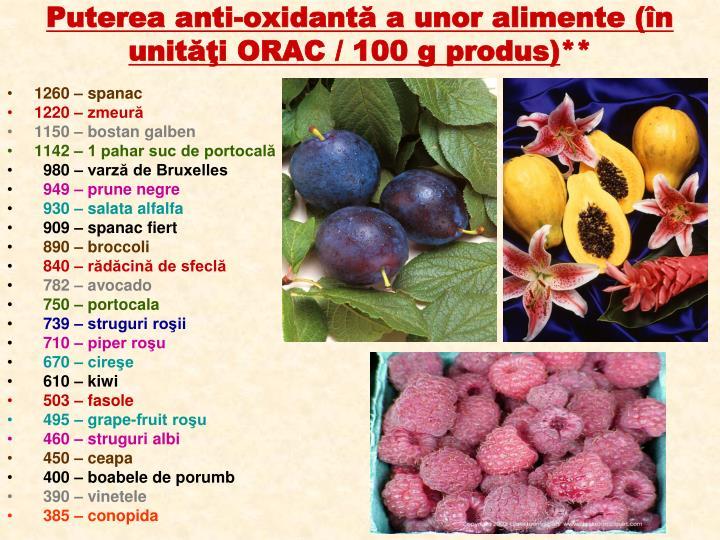 Puterea anti-oxidantă a unor alimente (în unităţi ORAC