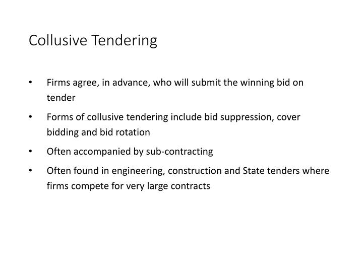 Collusive Tendering