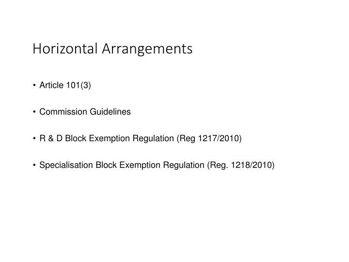Horizontal Arrangements