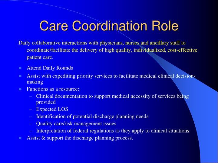 Care Coordination Role