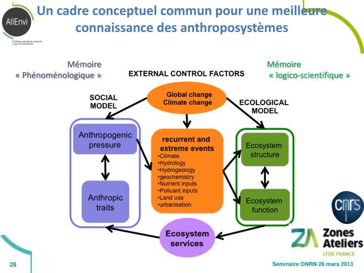 Un cadre conceptuel commun pour une meilleure connaissance des