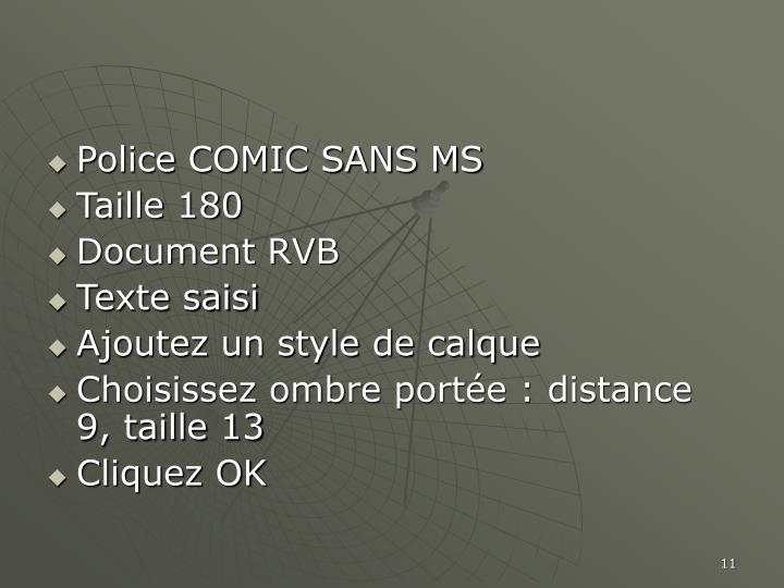 Police COMIC SANS MS